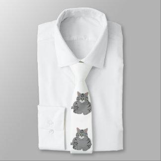Grey cat cartoon tie
