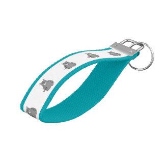 Grey cat cartoon wrist keychain