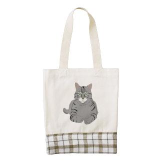 Grey cat cartoon zazzle HEART tote bag