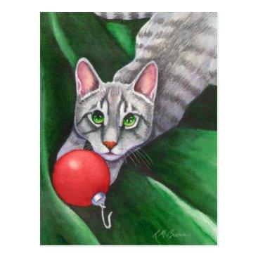 Christmas Themed Grey Cat Christmas Ornament Postcard