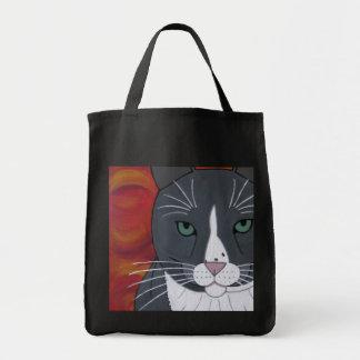 Grey Cat Face Tote Bag