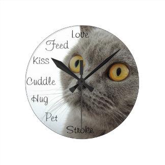 Grey Cat Golden Eyes Close-up Round Wallclock