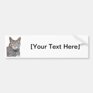 Grey Cat Green Eyes Painting Bumper Sticker