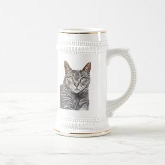 Grey Cat Green Eyes Painting Coffee Mugs