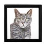Grey Cat Green Eyes Painting Trinket Boxes