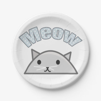 Grey Cat Head Illustration, Meow 7 Inch Paper Plate