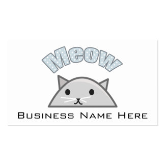 Grey Cat Head Illustration, Meow Business Card