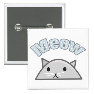 Grey Cat Head Illustration, Meow 2 Inch Square Button