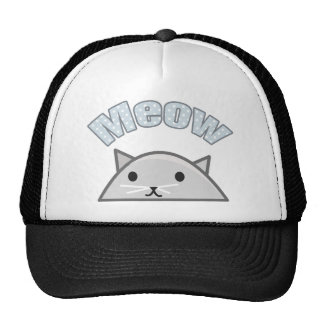 Grey Cat Head Illustration, Meow Mesh Hat