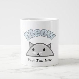 Grey Cat Head Illustration, Meow 20 Oz Large Ceramic Coffee Mug