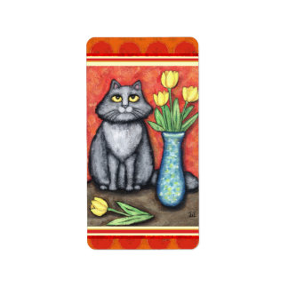 Grey Cat Lover s Sticker Labels