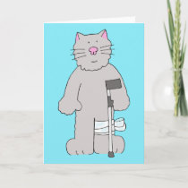 Grey cat on crutch, knee surgery recovery. card
