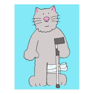 Grey cat on crutch, knee surgery recovery. postcard