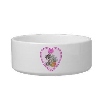Grey Cat Pink Heart Pet Bowl