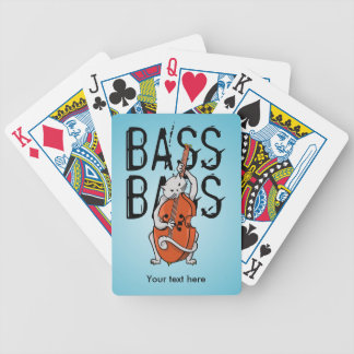 Grey Cat Playing a Double Bass Bicycle Playing Cards