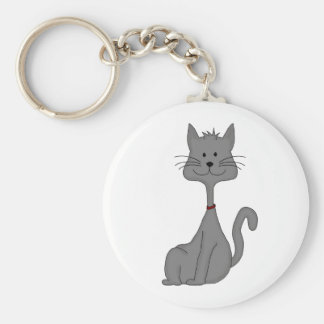 Grey Cat Sitting Keychains