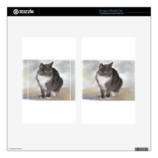 Grey Cat Skins For Kindle Fire