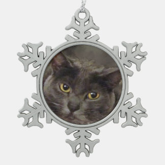 Grey Cat Snowflake Pewter Christmas Ornament