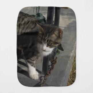 Grey Cat Stalking Burp Cloth