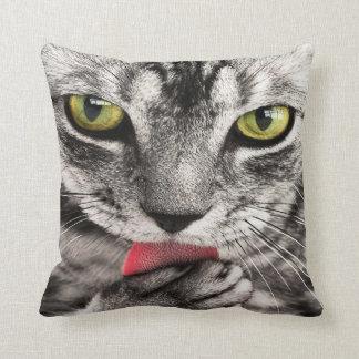 """Grey cat Throw Pillow 20"""" x 20"""""""