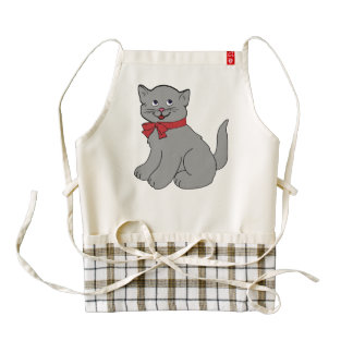 Grey cat wit a red bow cartoon zazzle HEART apron
