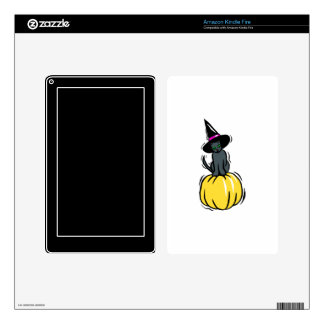 grey cat witches hat pumpkin kindle fire decal
