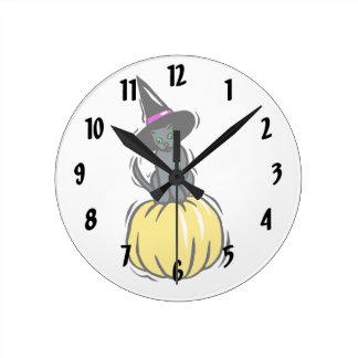 grey cat witches hat pumpkin round wallclock