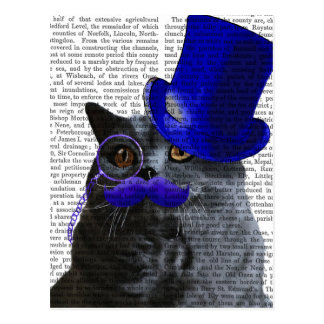 Grey Cat With Blue Top Hat and Blue Moustache Postcard