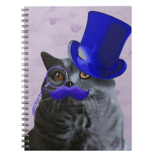 Grey Cat With Blue Top Hat and Moustache Spiral Notebook