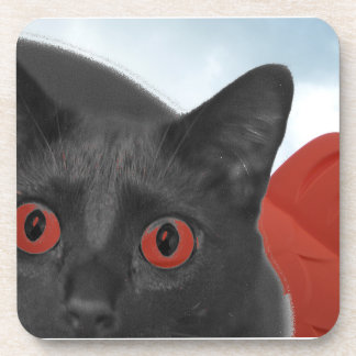 Grey Cat With Orange eyes Blended picture Drink Coasters