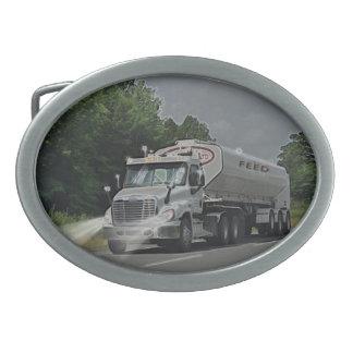 Grey Cattle Feed Cistern Truck for Truckers & Kids Oval Belt Buckle