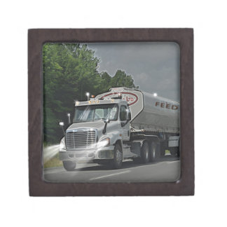Grey Cattle Feed Cistern Truck for Truckers & Kids Jewelry Box