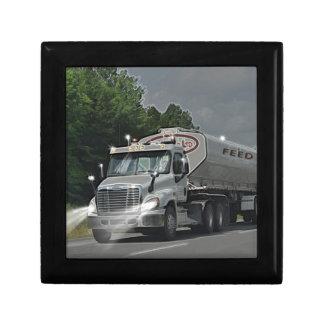 Grey Cattle Feed Cistern Truck for Truckers & Kids Keepsake Box
