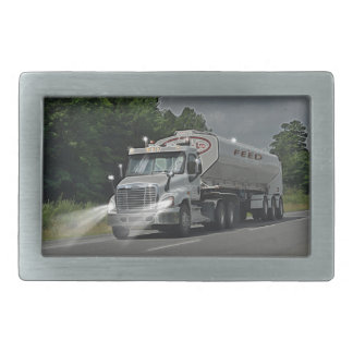 Grey Cattle Feed Cistern Truck for Truckers & Kids Rectangular Belt Buckle