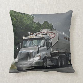 Grey Cattle Feed Cistern Truck for Truckers & Kids Throw Pillow