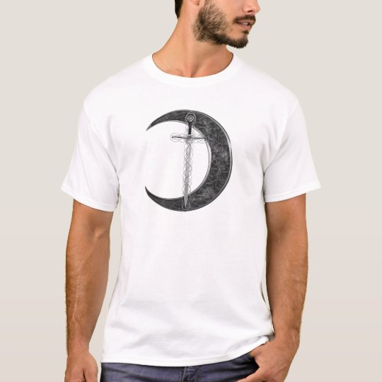 Grey Celtic Sword and Moon T-Shirt