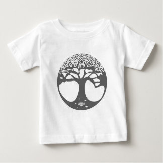 Grey Celtic Tree of Life with Celtic Knot Leaves Baby T-Shirt