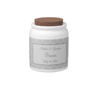 Grey Celtic Wedding Jar or Cannister Wedding Gift Candy Jar