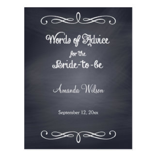 Grey Chalkboard Design Bridal Shower Advice Cards Postcard