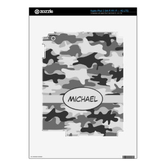 Grey Charcoal Camo Camouflage Name Personalized iPad 3 Skin