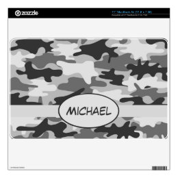 Grey Charcoal Camo Camouflage Name Personalized MacBook Decal
