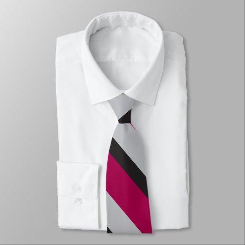 Grey Charcoal & Deep Raspberry Diagonally-Striped Tie