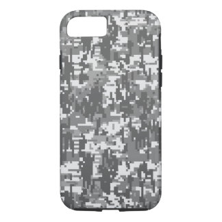 Grey Charcoal Urban Digital Camo Pattern iPhone 7 Case