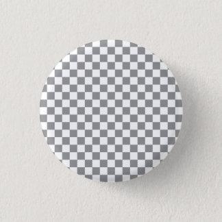 Grey Checkerboard Pinback Button
