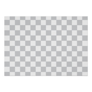 Grey Checkered Pattern Poster