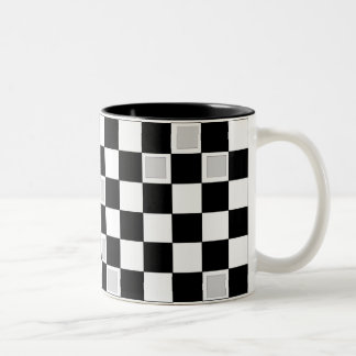 Grey Checkers Two-Tone Coffee Mug
