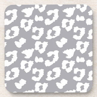 Grey Cheetah Leopard Print Drink Coasters