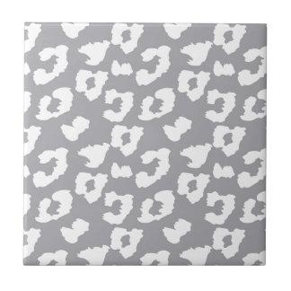 Grey Cheetah Leopard Print Tile