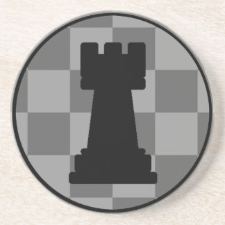 Grey chessboard Rook Coaster