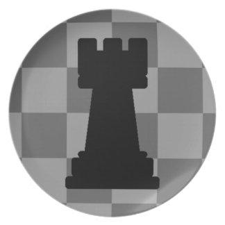 Grey chessboard Rook Dinner Plate